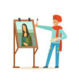 male painter artist character with mustache vector image