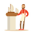 smiling man making model of a sail boat hobby or vector image