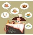 Woman thinking what to cook vector image