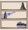 horizontal banner stylized famous city sights vector image vector image