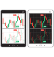 Black and white tablet with business charts vector image
