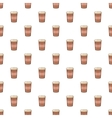 Brown paper cup of coffee pattern cartoon style vector image