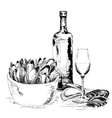Mussels with wine vector image