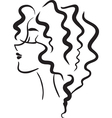 Profile woman with wavy hair vector image