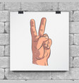 realistic sketch hands - gestures raised hand vector image