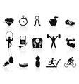 black fitness icons set vector image vector image