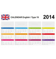 Calendar 2014 English Type 19 vector image