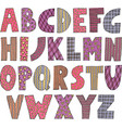 colorful patchwork font vector image