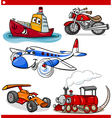 funny cartoon vehicles and cars set vector image