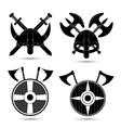 set of viking icons isolated on white vector image
