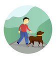 boy walking with a dog vector image