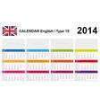 Calendar 2014 English Type 19 vector image