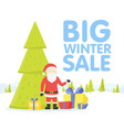 christmas big sale flat design santa with sale vector image