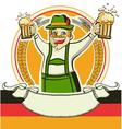German man and glasses of beer oktoberfest estival vector image