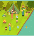 happy family go camping and fishing vector image