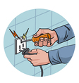 dangerous work with electricity vector image