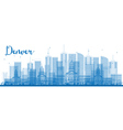 Outline Denver Skyline with Blue Buildings vector image