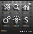 Dark pegboard background with business Tools vector image
