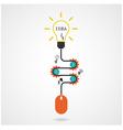 Creative light bulb idea and computer mouse vector image