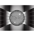 Silver disco ball on metallic 3D environment vector image