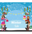 beautiful girls on winter shopping - card vector image