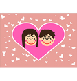 couple in love together with hearts vector image