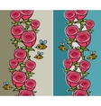Set of vertical pattern with flowers and insects vector image