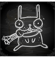 Bunny Eating Carrot Drawing on Chalk Board vector image