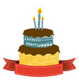 color cake party with canddles and fuchsia ribbon vector image