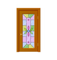 Door with stained-glass windows isolated vector image