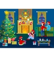 Merry Christmas Eve Happy Family in Home Interior vector image