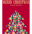 Retro mosaic Christmas pine tree vector image