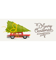 Merry christmas of retro holiday car vector image