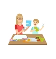 Mother And Child Doing Applique Together vector image