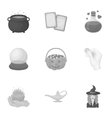 Black and white magic set icons in monochrome vector image