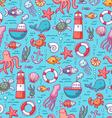 Sea doodles color pattern vector image