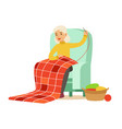 grandmother sewing sitting in a chair colorful vector image