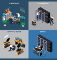 it engineers 2x2 icons set vector image