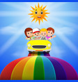 kids riding on a vehicle passing vector image