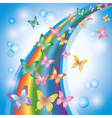 Light colorful background with butterflies rainbow vector image