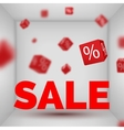 Opened Box room with SALE text and red 3d discount vector image