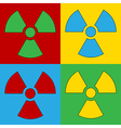 Pop art radiation sign icons vector image