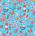 Sea doodles color pattern vector image