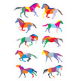 set of horses colorful silouettes vector image