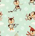 Skating penguins pattern vector image