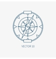 Line flat blue marine icon with nautical vector image