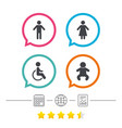 wc toilet icons human male or female signs vector image