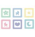 Sweet icons with polka dots isolated on white vector image