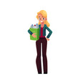 young woman holding box with plastic bottles vector image