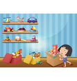 Girl and many toys on shelves vector image